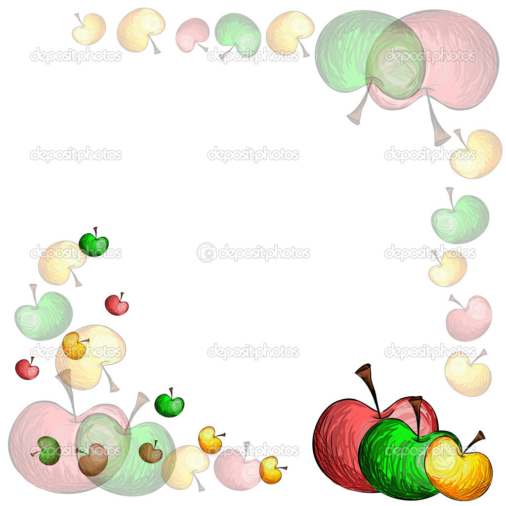 Sketch apple border.Transparent — Stock Vector © ilonitta ...