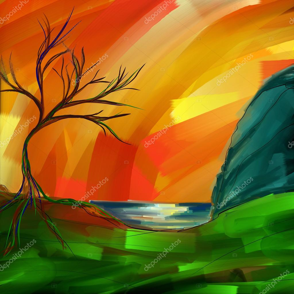 Artistic landscape background, drawn by oil and acrylic. Canvas texture.