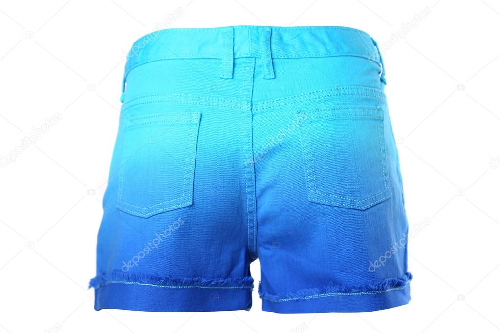 ceb9b11208 Ein Damen-Jeans-kurze Hosen isoliert auf weißem Hintergrund. Zurück — Foto  von indigolotos