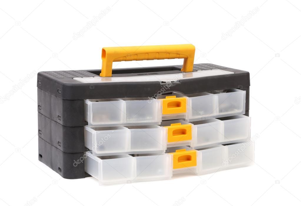 Schwarzer Kunststoff-Werkzeugkasten — Stockfoto © indigolotos #32698691