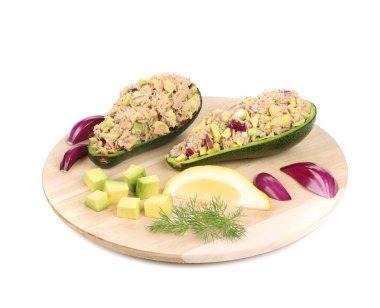 Avocado salad with tuna.