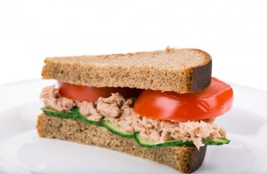 Close up of tuna sandwich.