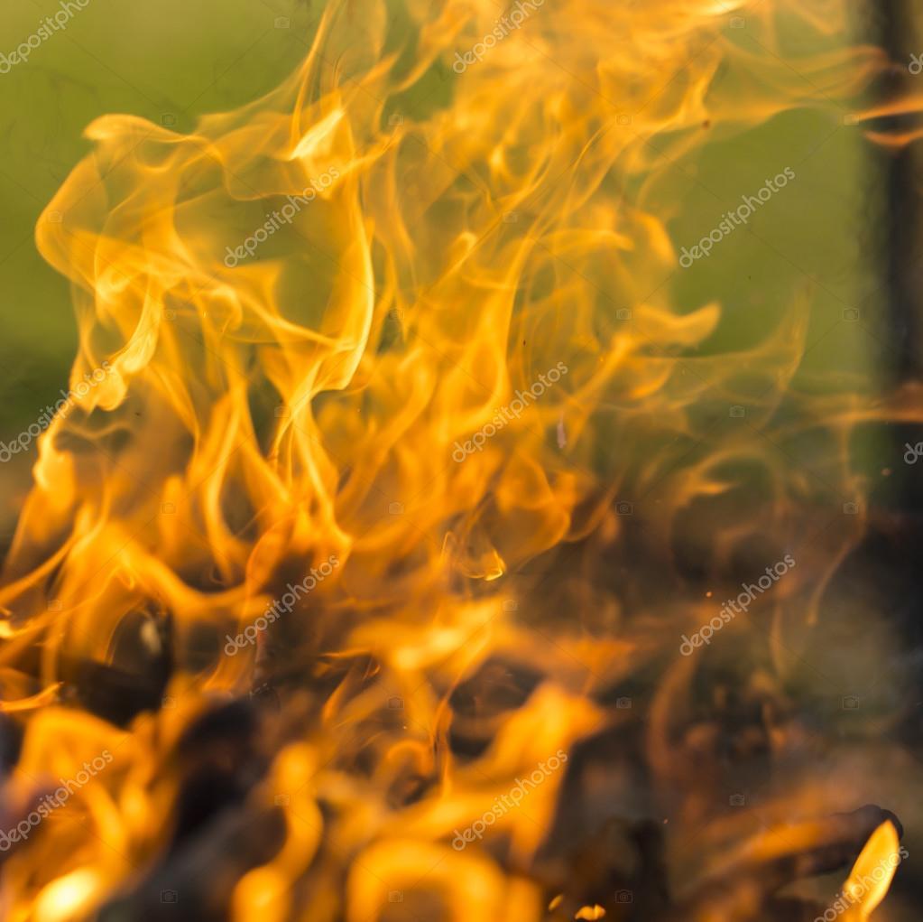 Blazing fire.