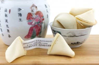 Chinese fortune cookies and teapot