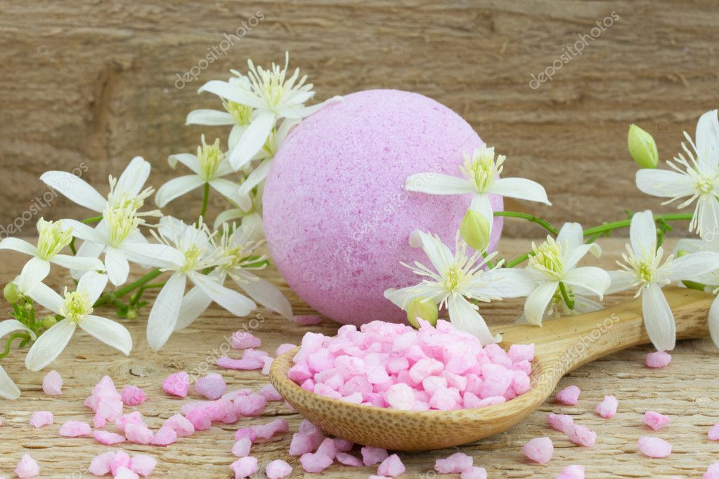 Pink bath bomb and bath salt