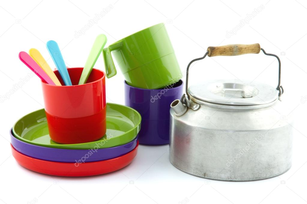 Colorful Vintage Camping Equipment Such As Cup And Saucers Tea Kettle Photo By EllenMol