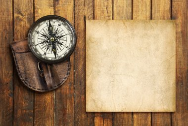 Vintage compass on the wooden background with the blank for your text