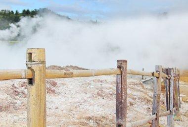 Steaming volcanic krator