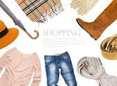 Fotografia collage di abbigliamento nella combinazione di colori caldi