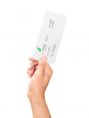 Boarding pass in hand isolated on white background
