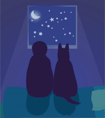 Child and dog look at the night sky