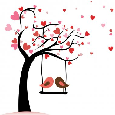 Two birds in love on abstract tree with heart leaf stock vector