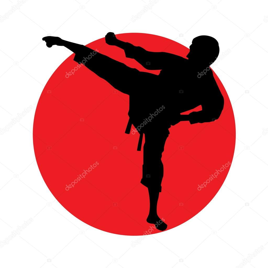 Abstract martial art man silhouette on red circle stock vector
