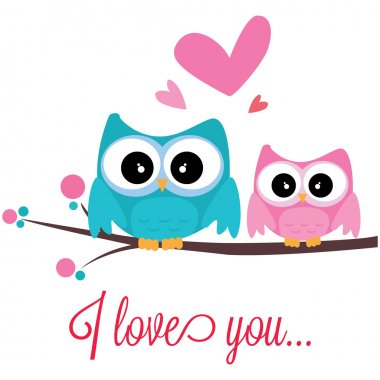 Abstract owls in love on white background clip art vector