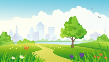 Vector illustration of a summer city park. stock vector