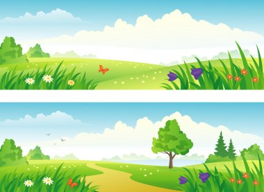 Vector beautiful summer scenics banners. stock vector