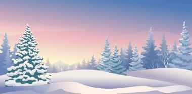 Vector illustration of a beautiful winter morning. stock vector