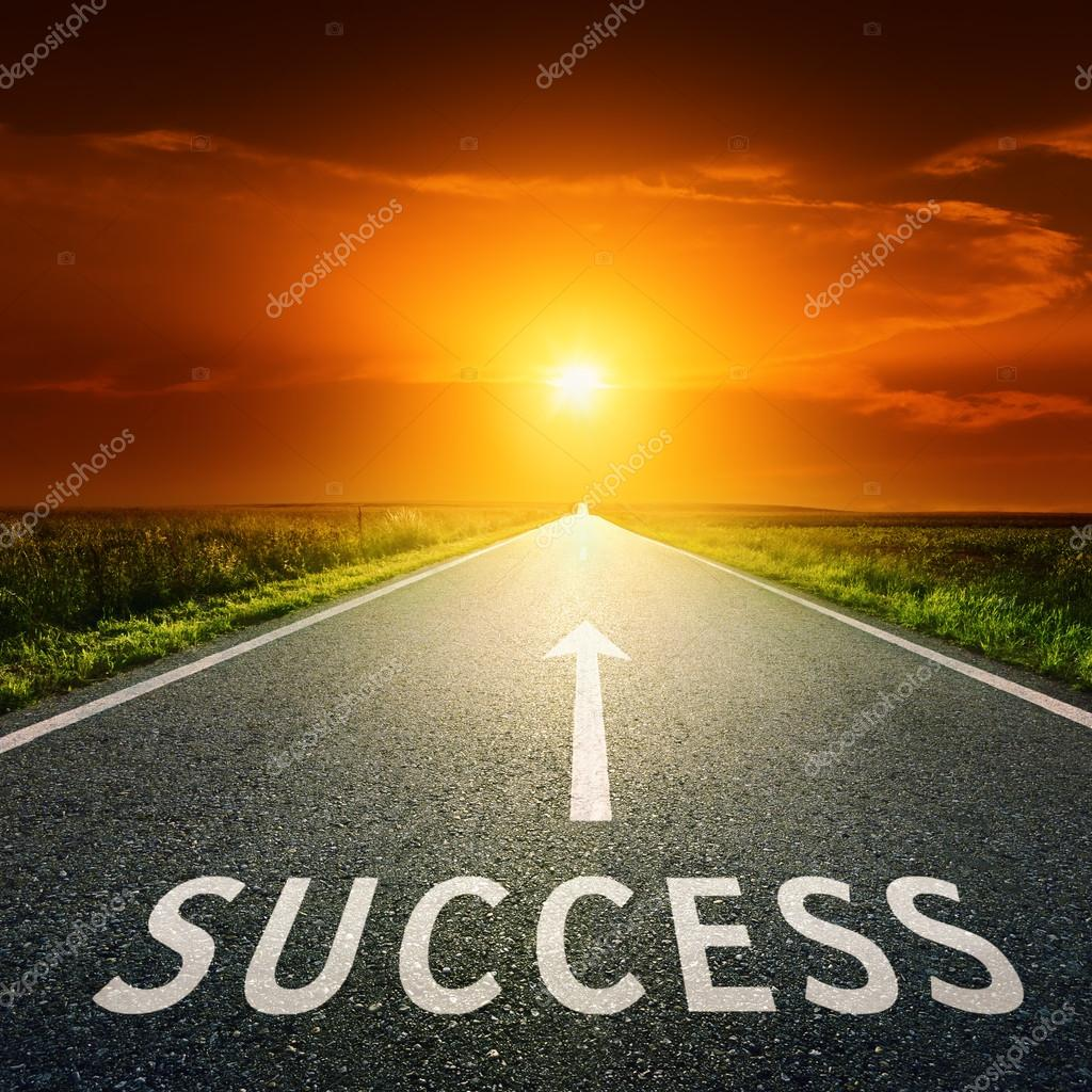 Empty asphalt road and sign symbolizing success