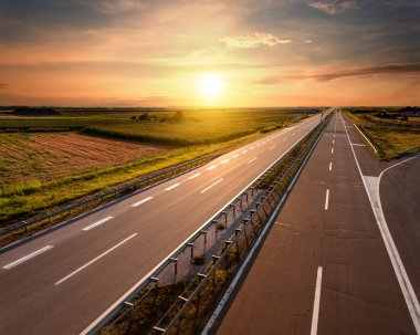 Highway at sunset, near Belgrade in Serbia
