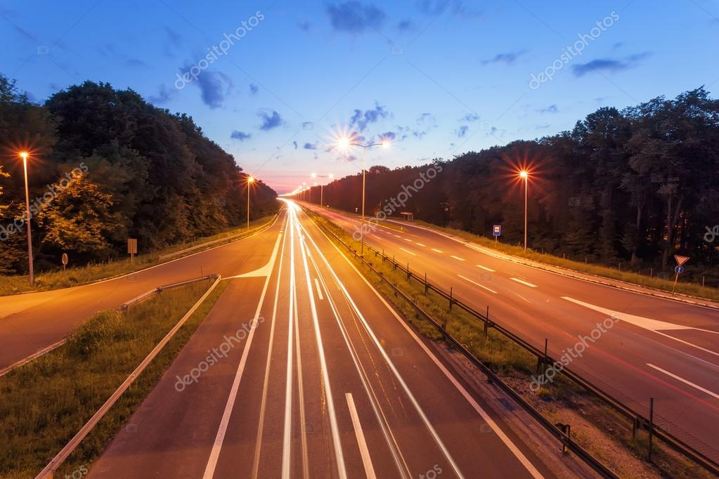 Long exposure photo on a highway at sunset