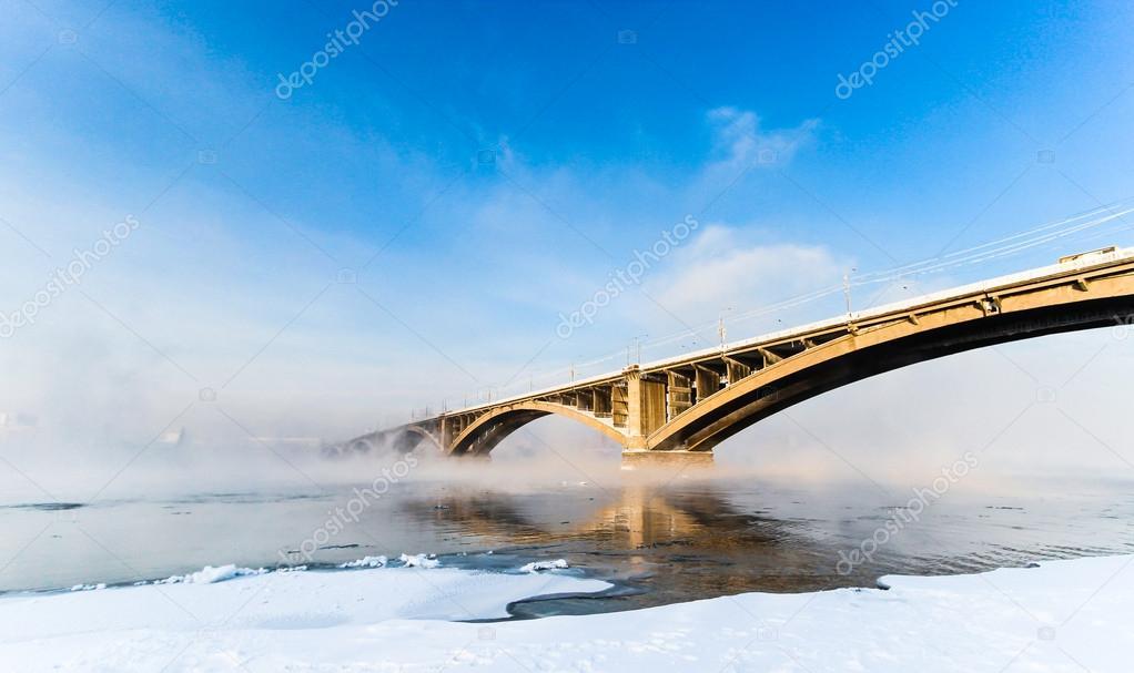 Bridge over Yenisei River, Krasnoyarsk, Russia. Selective focus.