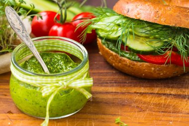 Green pesto in little jar