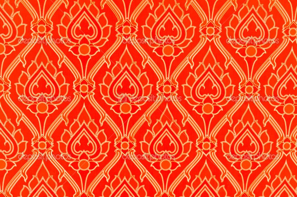 Papier Peint Thai Art Rouge Avec Un Motif Lotus Nice Photographie