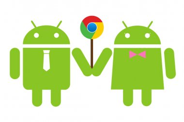 Andriod couple holding a lolipop Chrome