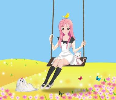 Cute 2d girl on the swing