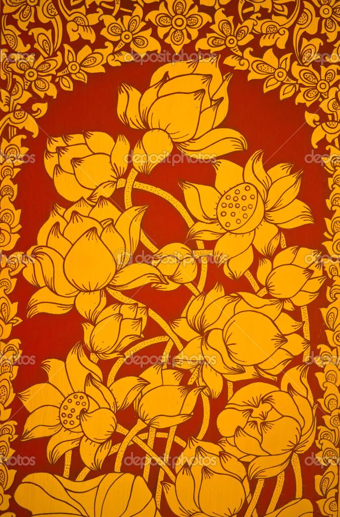 Pintura Antiga Tailandesa Mural Flor Das Flores Stock Photo