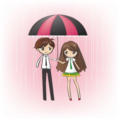 Cartoon teenage couple under an umbrella, in the rain in pink romantic background stock vector