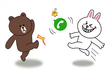 Brown and Cony is kicking a Whatsapp ball