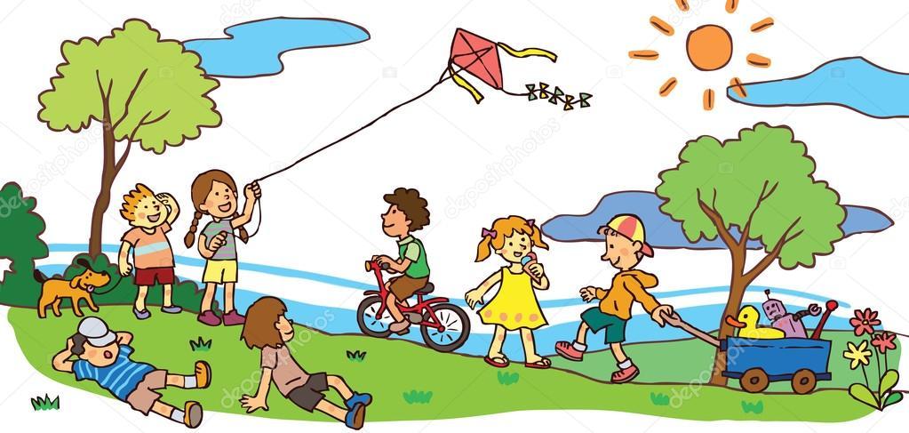 Children having a good time in summer landscape (vector)