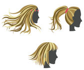 Fotografie Golden woman hair model on dummies