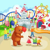 Fotografie Amusement park for children in summer holiday (vector)