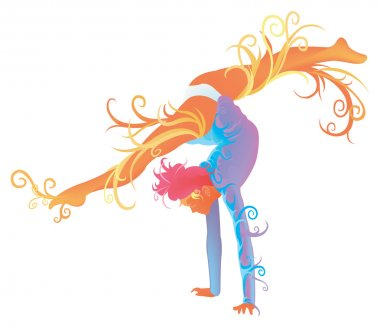 Gymnastic performer with abstract and fantasy concept