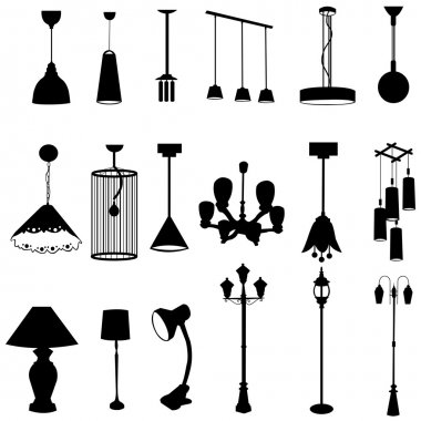 Sets of silhouette lamps, create by vector