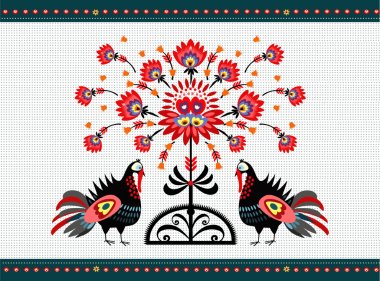 Folk Pattern With Turkeys