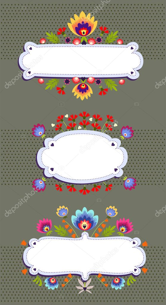 Frame Banner With Folk Pattern