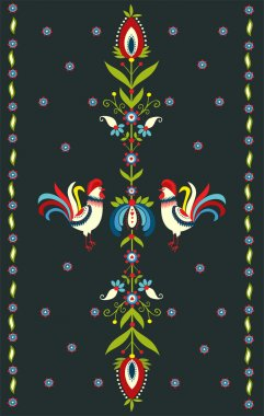 Embroidery Pattern With Roosters
