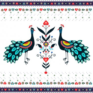Embroidery Pattern With Peacocks