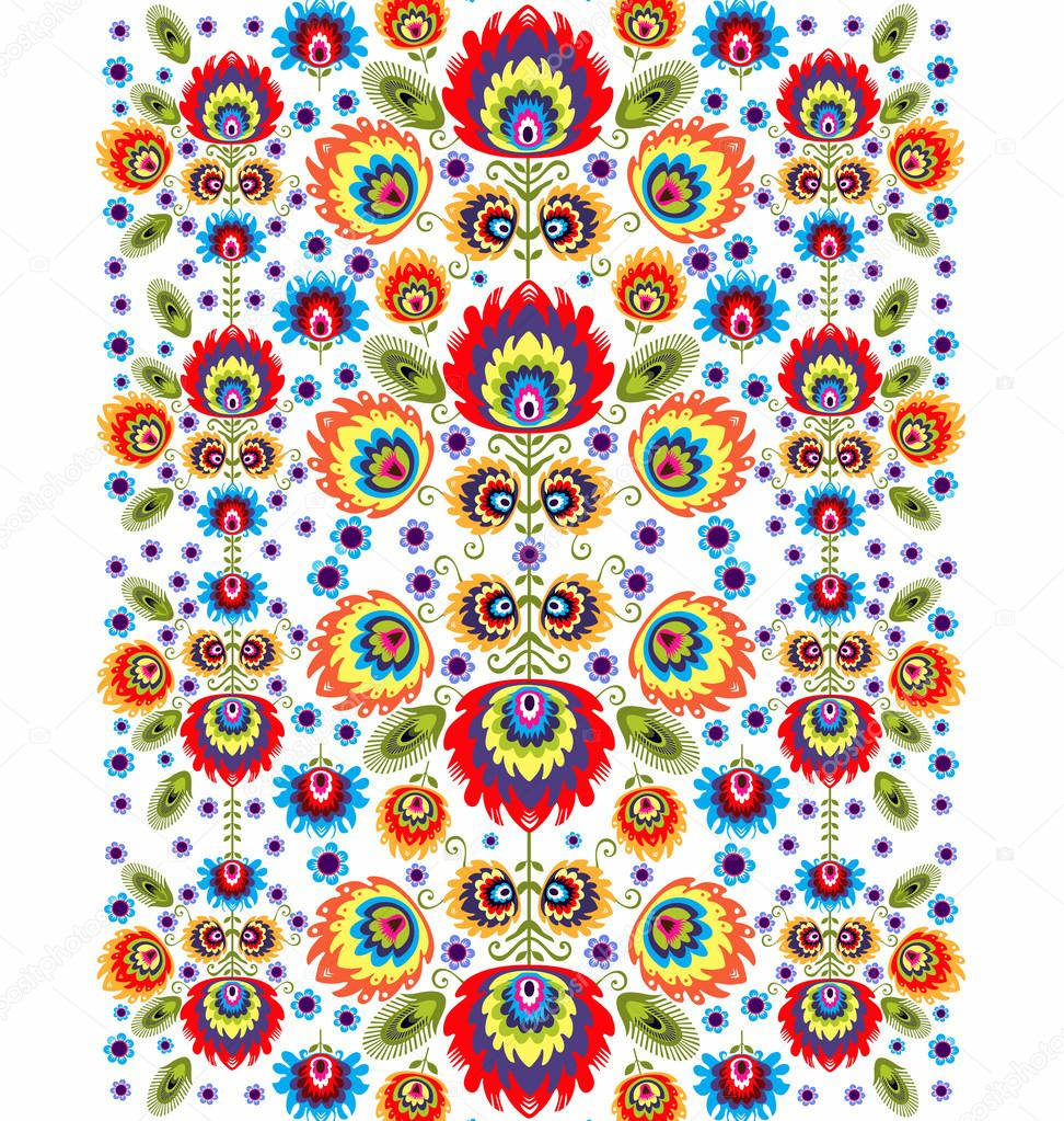 Folk Pattern With Flowers -Three