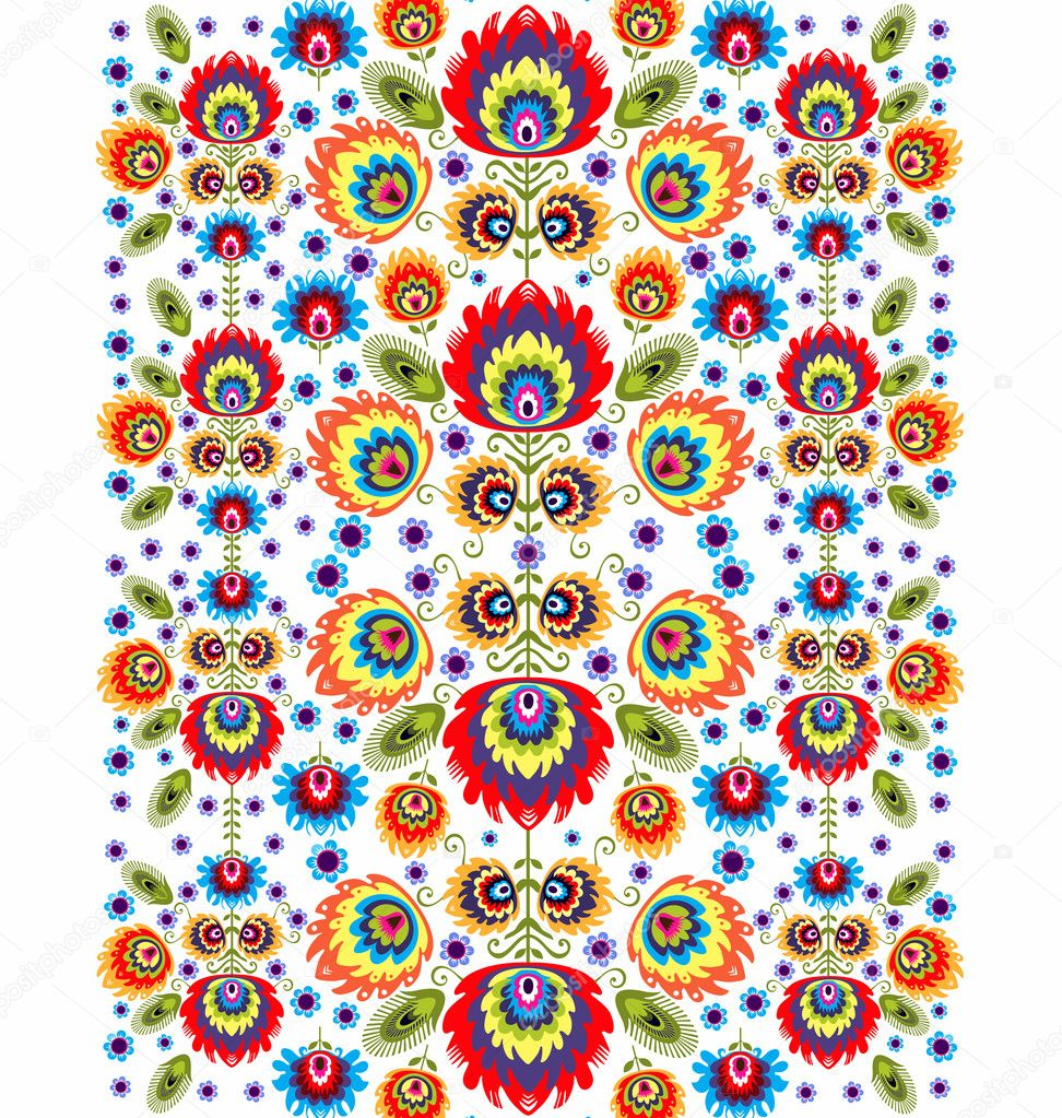 Folk Pattern With Flowers -Three