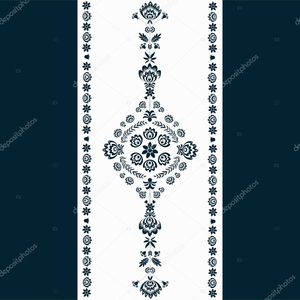 Polish folk pattern - navy blue