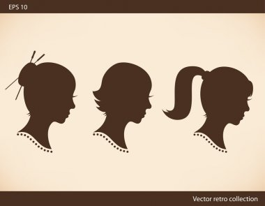 Retro collection with women head silhouettes Vector set with Isolated women half faces Vintage images of girls portraits Contour images of ladies heads