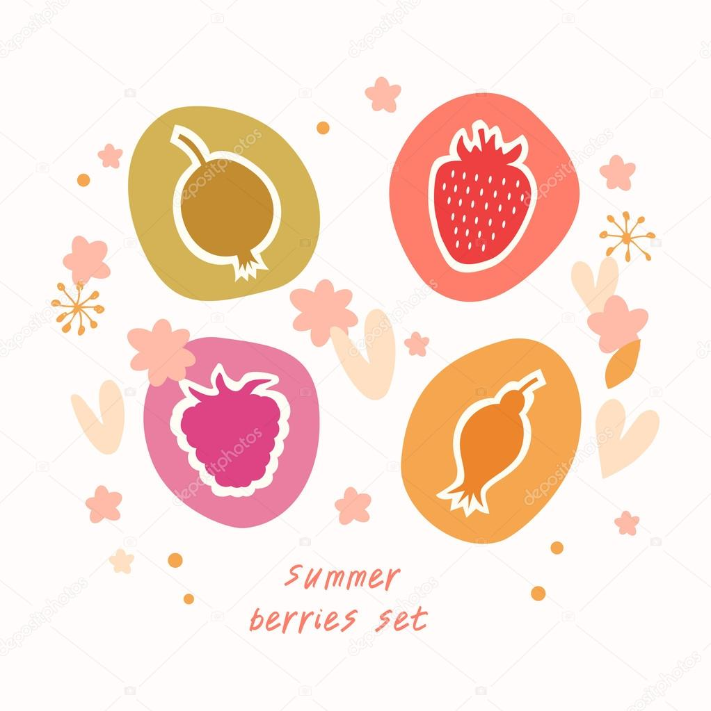 Summer berries set Food icons doodle collection