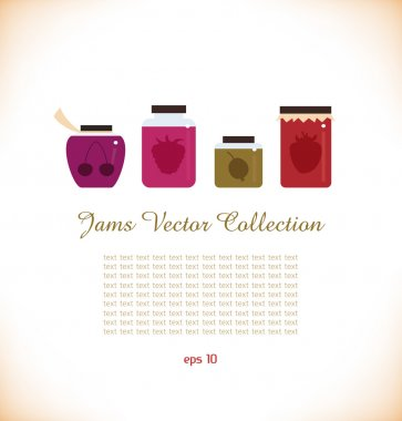 Jams collectoin Strawberry jam Red raspberry jam Cherry jam Set of different confiture Isolated pots of jam