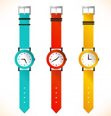 Isolated clocks. Wrist-watch. Set of clocks