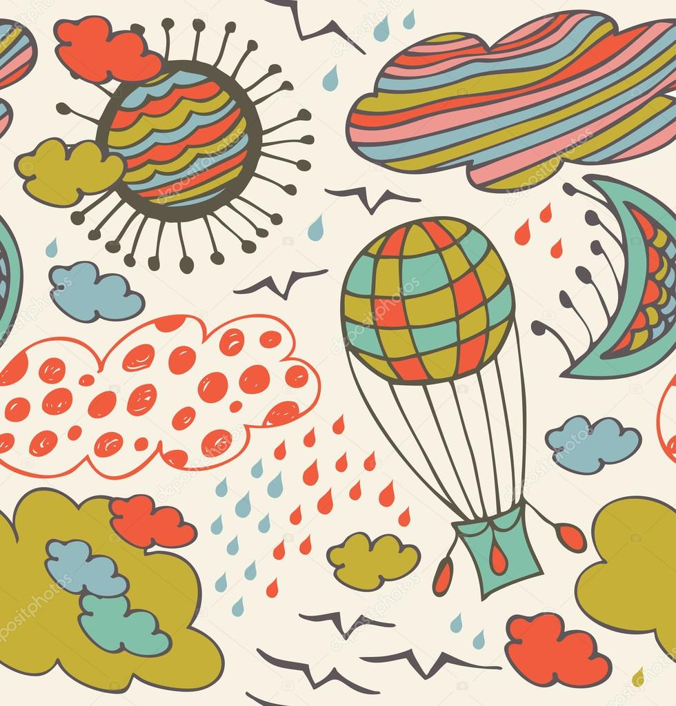 Seamless decorative pattern with clouds, overcasts, sun, moon, birds and balloon. Background with drawn elements of sky