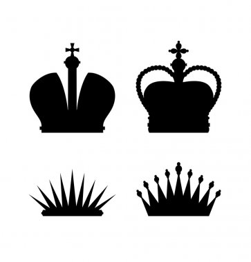 Set of different crowns. Vector icons collection of isolated black silhouettes of crowns and diadems. Illustration of royal symbols